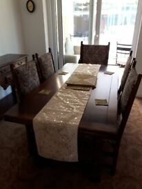 Old Charm Dining Table and Chairs Solid Oak