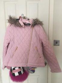 Ladies Girls Pink Faux Fur Trim Coat Jacket BNWT!