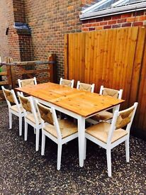 Shabby chic farmhouse table and 8 chairs