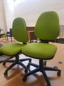 Selection of lime green and grey office chairs - £10 each