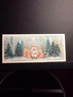 HALLMARK CHRISTMAS GREETING CARD ANGELS WOODLAND CREATURES TREE DECORATED PINK