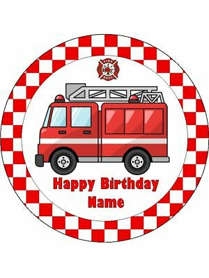 Fire Truck Cupcakes (FIRE TRUCK Edible Wafer Paper Birthday Cake Decoration & 12 Cupcake)