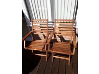 4 Wooden garden chairs / armchairs (folding)