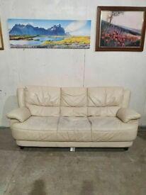 Cream Leather 3 Seater Sofa No210818