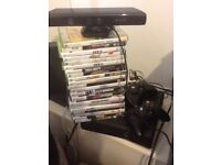 Xbox 360 250gb with kinetic and 2 perfect pads 24 games works perfectly