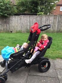 Micralite Twofold Double pushchair - As new with extras red and black