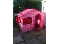 kids, childrens playhouse / wendy house pink plastic, lightweight, easy assemble