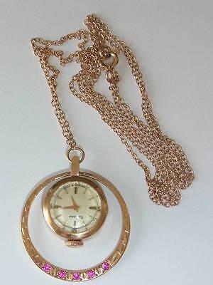 Antike Kettenuhr Goldkette Taschenuhr Uhr 585 Gold Rotgold Rosegold Rubin
