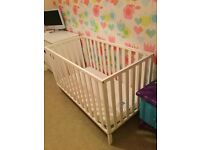 white pine cot with mattress