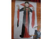 GIRLS LONG VAMPIRE FANCY DRESS OUTFIT AGE 3/5 YEARS GREAT FOR HALLOWEEN PARTY