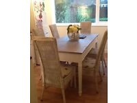 Shabby chic dining table and six chairs