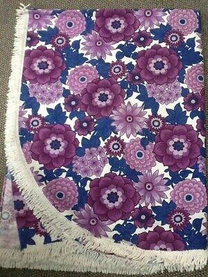 Vintage 60s/70 Purple Flower Power Single Bedspread White Fringe Prob St Michael