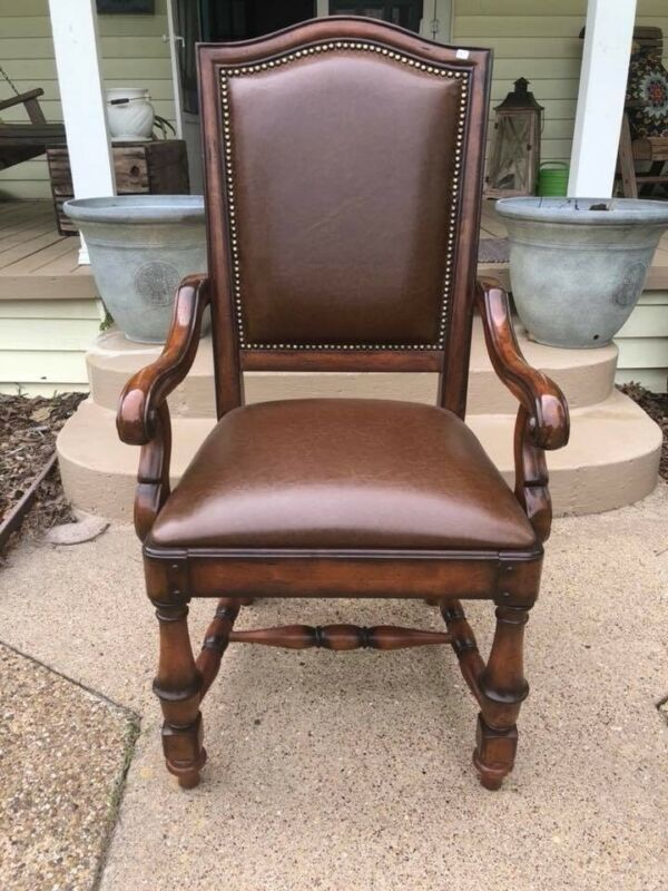 6 piece hooker genuine leather dining room chairs