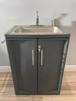 Portable Sink Hand Wash With Hot Cold Water Self Contained. Lockable Wkey.
