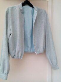 Blue cotton / linen short jacket – £1 - size 8-10.