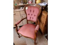 Vintage pink draylon wood chair Copley Mill LOW COST MOVES 2nd Hand Furniture STALYBRIDGE SK15 3DN