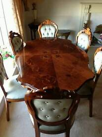 Good quality italian inlaid dinning table & 6 chairs can deliver 07808222995