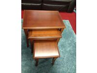 solid wood set of 3 nest of tables