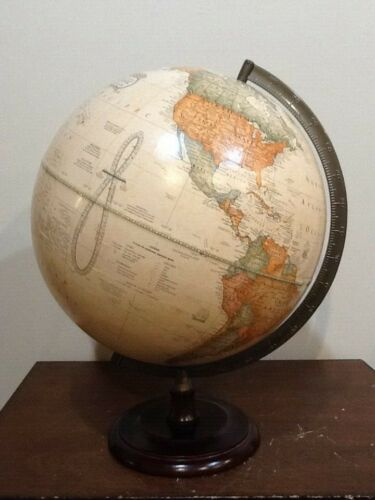 "THE GEORGE F. CRAM COMPANIES CLASSIC 12"" STYLE GLOBE WITH WOOD BASE"