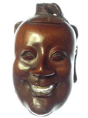 Early 20th c. Chinese red stained hardwood mask, Minguo-Republic period, 8in. H