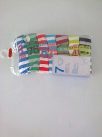 pkt 7 Primark striped with number on briefs age 11/12yrs brand new