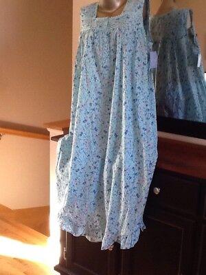 Adonna  Plus Size 100% Woven Cotton Sleeveless  Printed Long Nightgown 3X  NWT