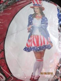 MISS USA/ UNCLE SAM FANCY DRESS OUTFIT SIZE 12/14 GREAT FOR PARTY OR HALLOWEEN