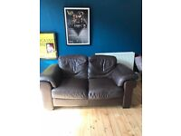 Brown Leather Sofa free to a good home!