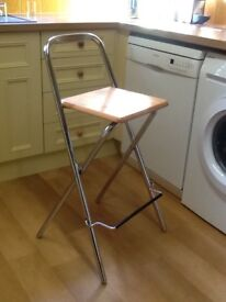 3 Kitchen bar stools, chrome legs with wooden seats (John Lewis) good condition