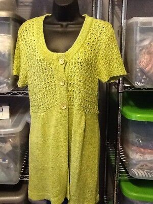 (Blair One Size Long Cardigan Cover Up Sweater Spring Green Three Button Front )