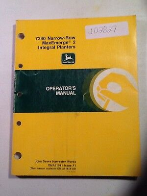 John Deere 7340 Narrow Row Maxemerge 2 Intergal Planters Operators Manual