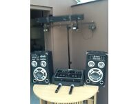 House dj newmark mixer system,lights,speaker,mics etc