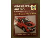 HAYNES MANUAL VAUXHALL/OPEL CORSA OCT 2000 - SEPT 03 X REG ONWARDS PETROL AND DIESEL