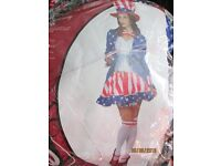 MISS USA / UNCLE SAM 4 TH OF JULY FANCY DRESS OUTFIT SIZE 12/14 GREAT FOR PARTY OR HEN DO