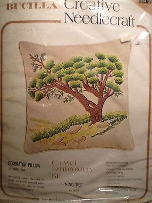 "Vintage Bucilla Needlepoint Crewel Embroidery Pillow Kit ""Ming Tree"" # 8684"