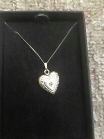 White gold heart locket, hardly worn