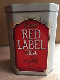 Collectable Vintage Red Label Tea Tin