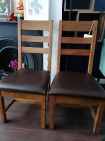 Solid wood set of 2 chairs dark brown leather seat dining