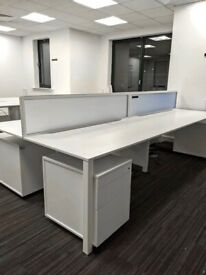 FREE SAME-DAY DELIVERY - 4, 6, 8 Seater Techo Alfa White Office Bench Desk Complete With Screens