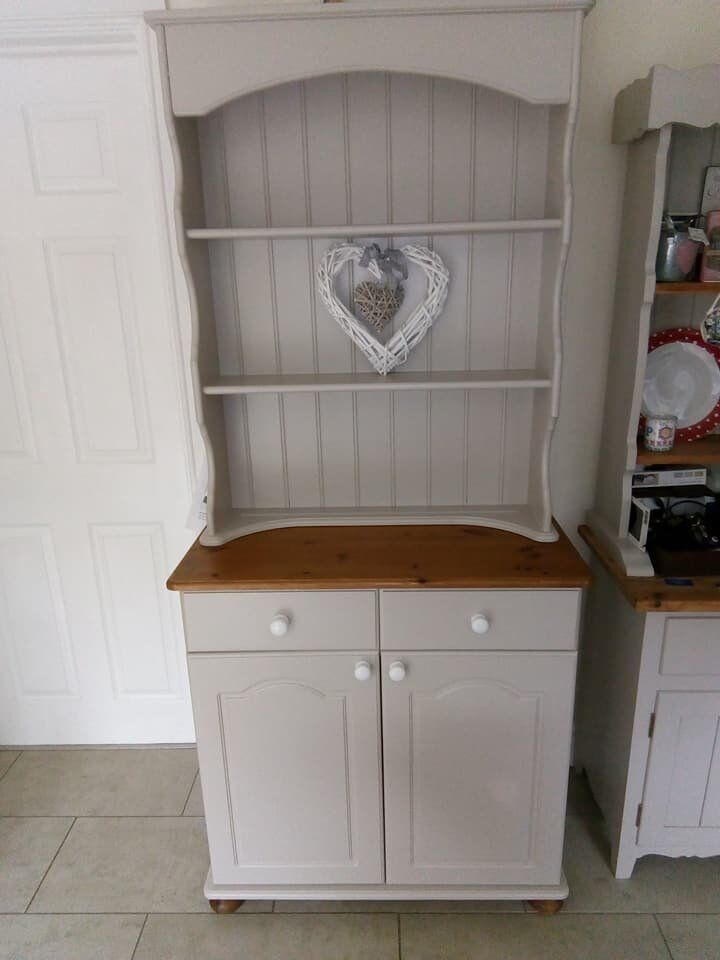 Vaak Solid Pine Welsh Dresser - upcycled with Farrow & Ball Elephant's #PD72
