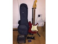 Red Jim Deacon Electric Guitar, Stand, Carrying Bag and Amp (no lead)
