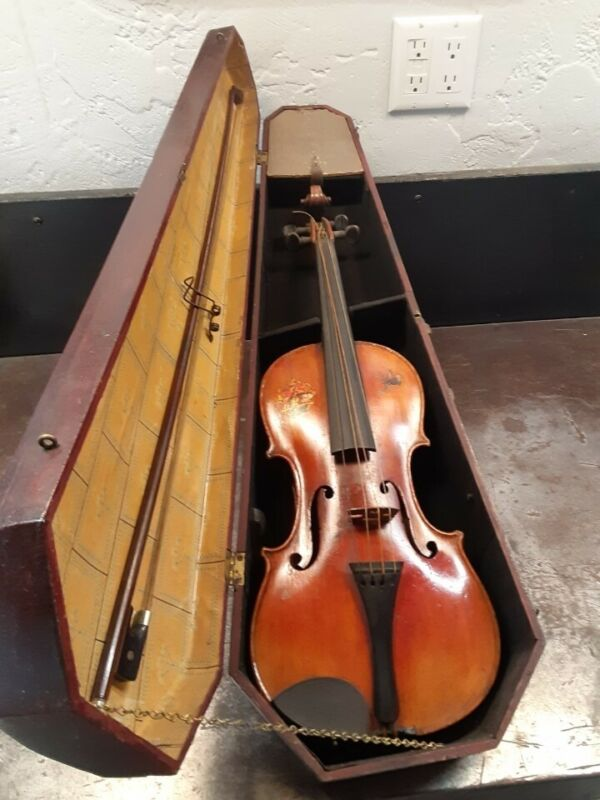 Vintage Violin, Case, and Mother of Pearl Inlay Bow