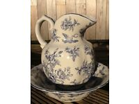 Vintage style decorative ceramic jug & bowl, with an off white glaze & blue decorative design