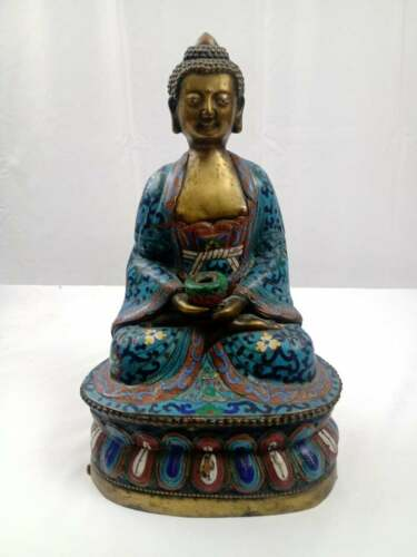 """Chinese Cloisonne Seated Buddha Holding a Small Bowl. 12-1/2"""" Height"""