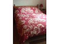 Pine double bed frame.