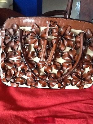 Valentino Garavani Brown Leather Handcrafted Flower Handbag Retail $2995