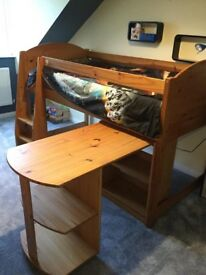 Children's solid pine cabin bed, pull out desk, chest of draws and bookcase