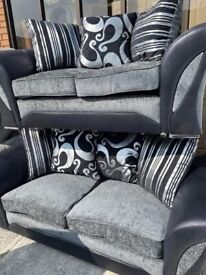 NEW 3 seater plus 2 setter sofas , with reversible cushions