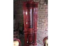 ITALIAN MAHOGANY DINING TABLE WITH 6 CHAIRS AND A DISPLAY CABINET