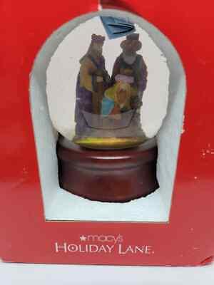 Macy's Holiday Lane Musical Water Globe Nativity Silent Night 2008
